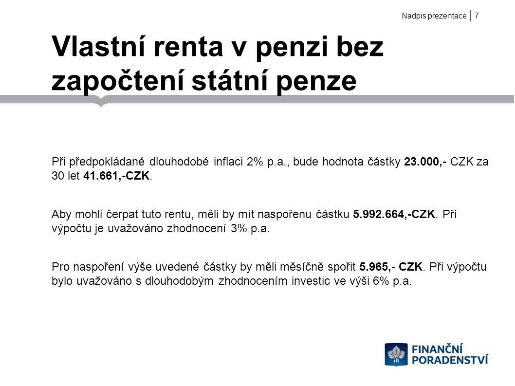 | Vlastní renta v penzi bez započtení státní penze Při předpokládané dlouhodobé inflaci 2% p.a., bude hodnota částky 23.000,- CZK za 30 let 41.661,-CZ