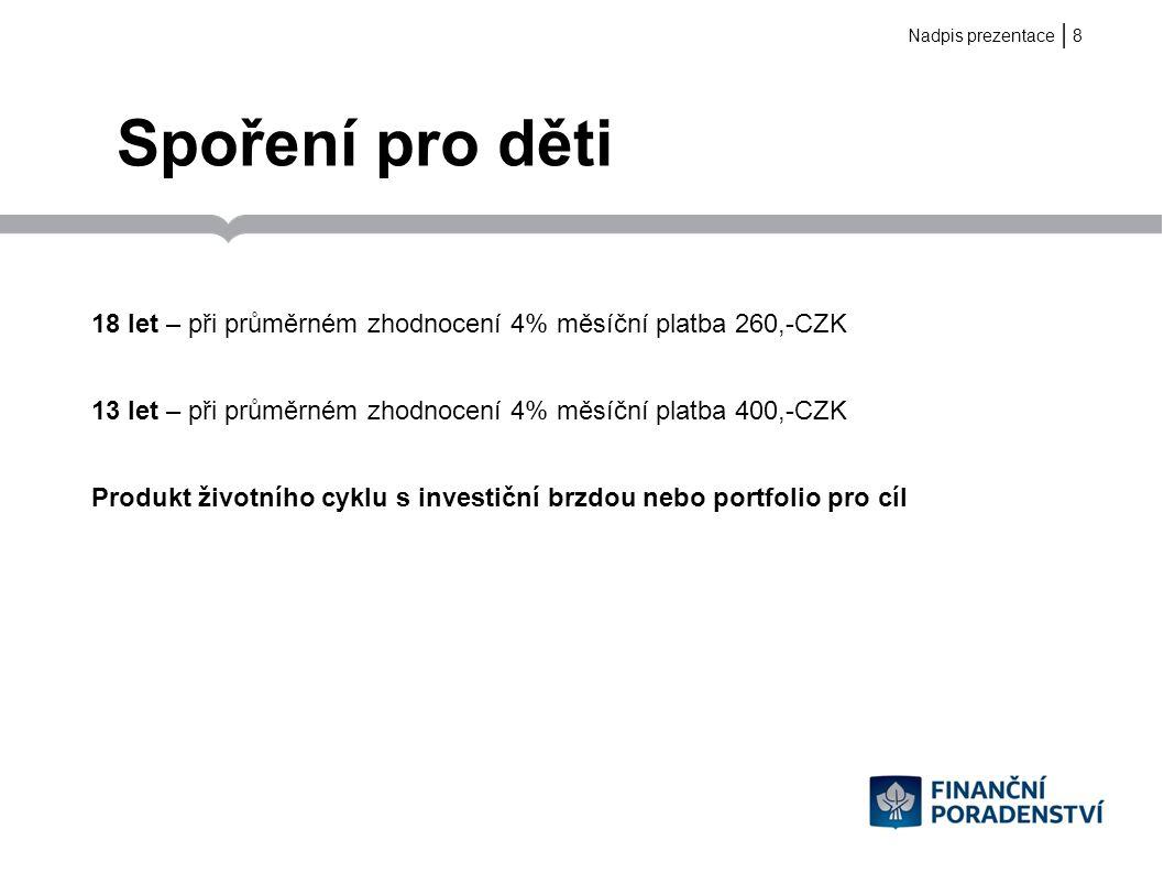   Státní podpory III.Pilíř – doplňkové penzijní spoření Státní příspěvek ve výši min.