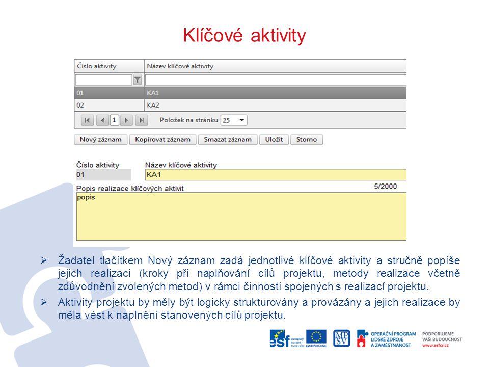 Klíčové aktivity  Žadatel tlačítkem Nový záznam zadá jednotlivé klíčové aktivity a stručně popíše jejich realizaci (kroky při naplňování cílů projekt