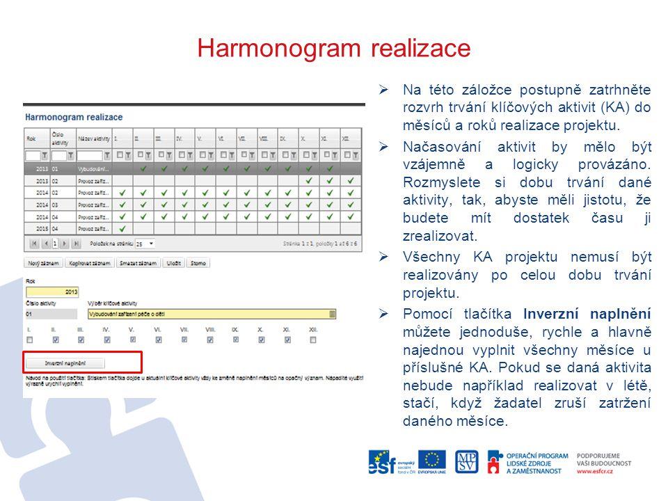 Harmonogram realizace  Na této záložce postupně zatrhněte rozvrh trvání klíčových aktivit (KA) do měsíců a roků realizace projektu.