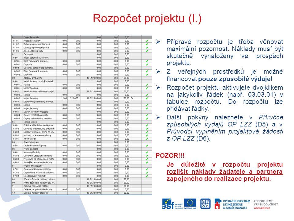 Rozpočet projektu (I.)  Přípravě rozpočtu je třeba věnovat maximální pozornost.
