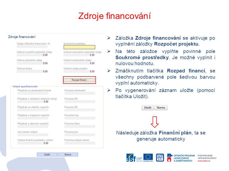 Zdroje financování  Záložka Zdroje financování se aktivuje po vyplnění záložky Rozpočet projektu.