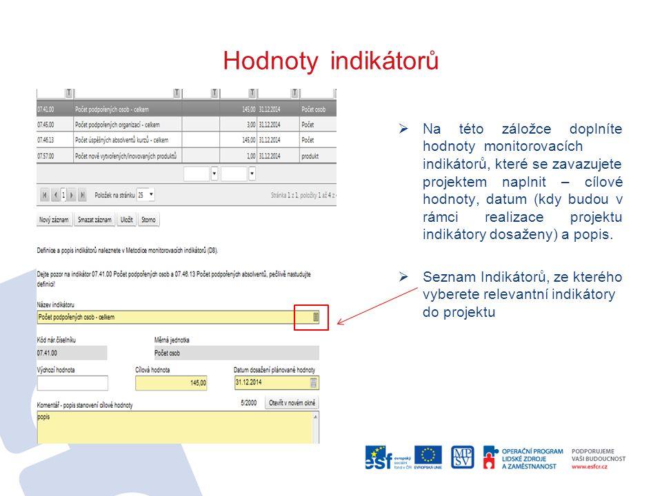 Hodnoty indikátorů  Na této záložce doplníte hodnoty_monitorovacích indikátorů, které se zavazujete projektem naplnit – cílové hodnoty, datum (kdy budou v rámci realizace projektu indikátory dosaženy) a popis.