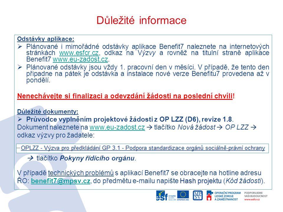 Důležité informace Odstávky aplikace:  Plánované i mimořádné odstávky aplikace Benefit7 naleznete na internetových stránkách www.esfcr.cz, odkaz na Výzvy a rovněž na titulní straně aplikace Benefit7 www.eu-zadost.cz.www.esfcr.czwww.eu-zadost.cz  Plánované odstávky jsou vždy 1.