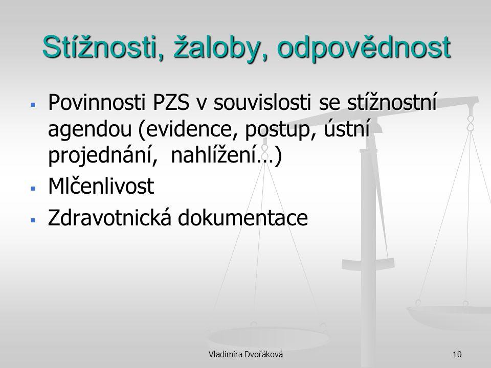Vladimíra Dvořáková10 Stížnosti, žaloby, odpovědnost  Povinnosti PZS v souvislosti se stížnostní agendou (evidence, postup, ústní projednání, nahlíže