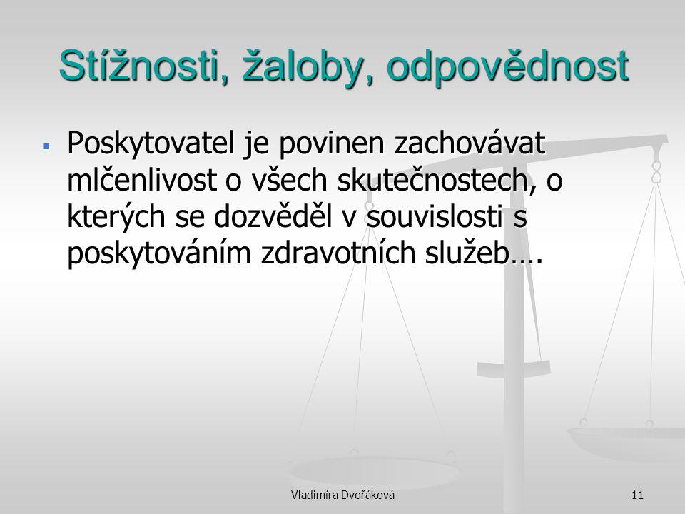 Vladimíra Dvořáková11 Stížnosti, žaloby, odpovědnost  Poskytovatel je povinen zachovávat mlčenlivost o všech skutečnostech, o kterých se dozvěděl v s