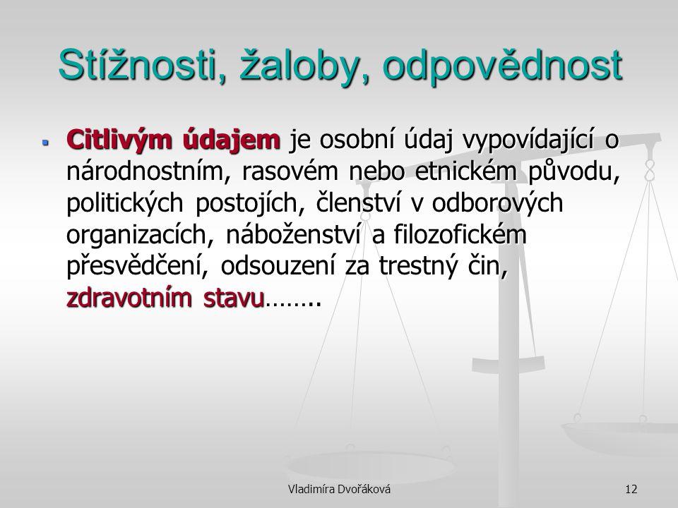 Vladimíra Dvořáková12 Stížnosti, žaloby, odpovědnost  Citlivým údajem je osobní údaj vypovídající o národnostním, rasovém nebo etnickém původu, polit