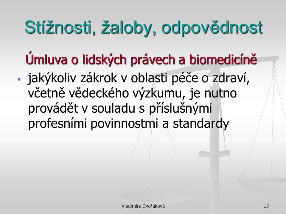 Vladimíra Dvořáková13 Stížnosti, žaloby, odpovědnost Úmluva o lidských právech a biomedicíně Úmluva o lidských právech a biomedicíně  jakýkoliv zákro