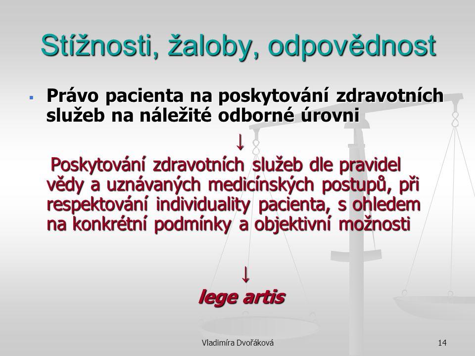 Vladimíra Dvořáková14 Stížnosti, žaloby, odpovědnost  Právo pacienta na poskytování zdravotních služeb na náležité odborné úrovni ↓ Poskytování zdrav