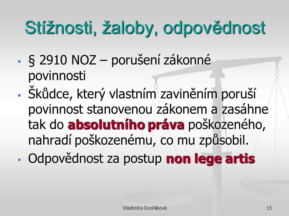 Vladimíra Dvořáková15 Stížnosti, žaloby, odpovědnost  § 2910 NOZ – porušení zákonné povinnosti  Škůdce, který vlastním zaviněním poruší povinnost st