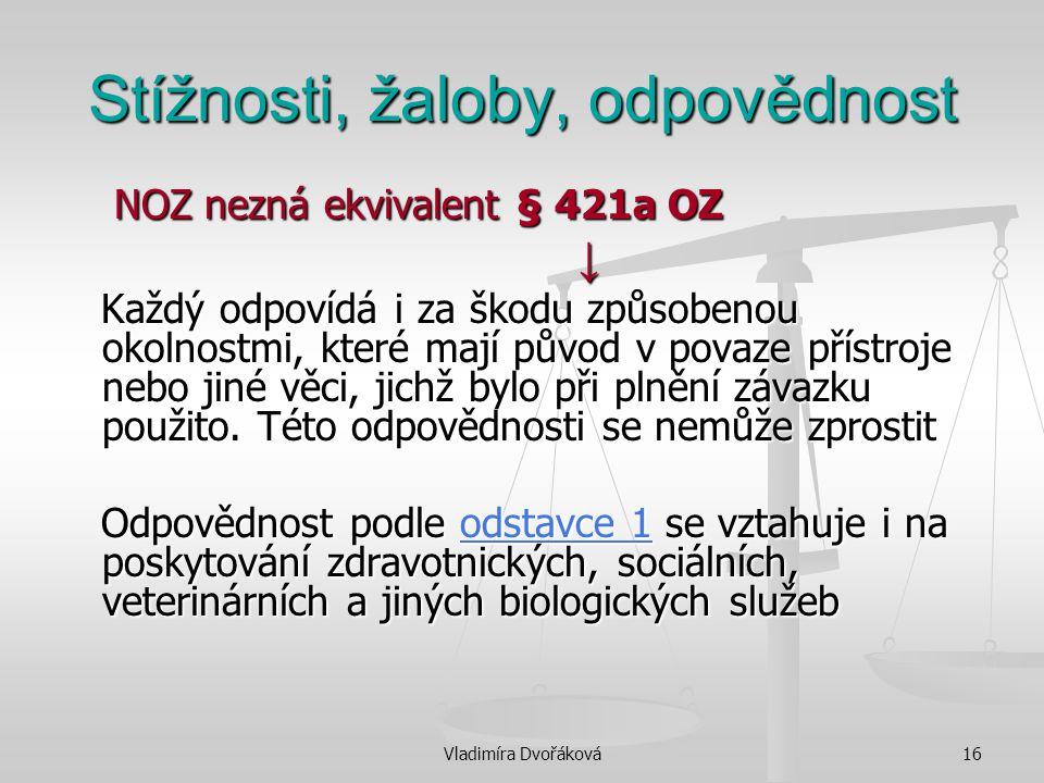 Vladimíra Dvořáková16 Stížnosti, žaloby, odpovědnost NOZ nezná ekvivalent § 421a OZ NOZ nezná ekvivalent § 421a OZ ↓ Každý odpovídá i za škodu způsobe