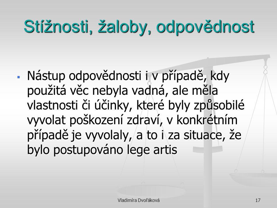 Vladimíra Dvořáková17 Stížnosti, žaloby, odpovědnost  Nástup odpovědnosti i v případě, kdy použitá věc nebyla vadná, ale měla vlastnosti či účinky, k