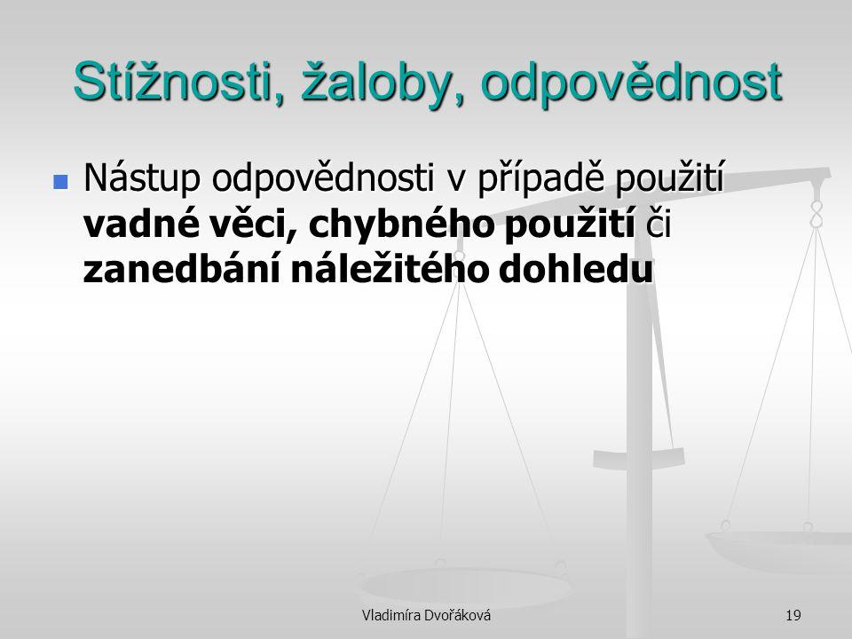 Vladimíra Dvořáková19 Stížnosti, žaloby, odpovědnost Nástup odpovědnosti v případě použití vadné věci, chybného použití či zanedbání náležitého dohled