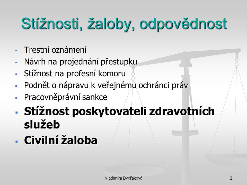 Vladimíra Dvořáková3 Stížnosti, žaloby, odpovědnost  Z.