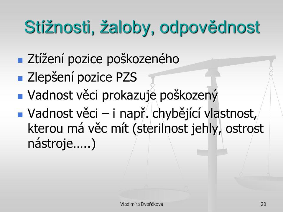 Vladimíra Dvořáková20 Stížnosti, žaloby, odpovědnost Ztížení pozice poškozeného Ztížení pozice poškozeného Zlepšení pozice PZS Zlepšení pozice PZS Vad