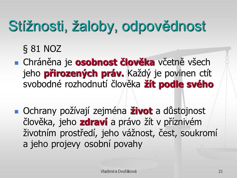 Vladimíra Dvořáková21 Stížnosti, žaloby, odpovědnost § 81 NOZ § 81 NOZ Chráněna je osobnost člověka včetně všech jeho přirozených práv. Každý je povin
