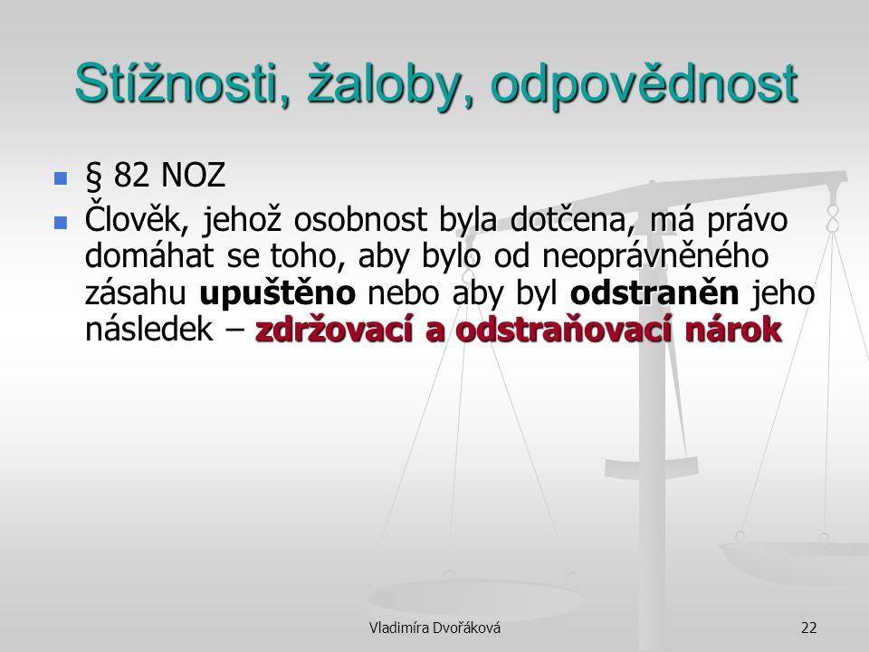 Vladimíra Dvořáková22 Stížnosti, žaloby, odpovědnost § 82 NOZ § 82 NOZ Člověk, jehož osobnost byla dotčena, má právo domáhat se toho, aby bylo od neop