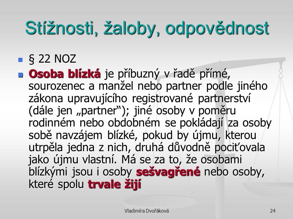 Vladimíra Dvořáková24 Stížnosti, žaloby, odpovědnost § 22 NOZ § 22 NOZ Osoba blízká je příbuzný v řadě přímé, sourozenec a manžel nebo partner podle j