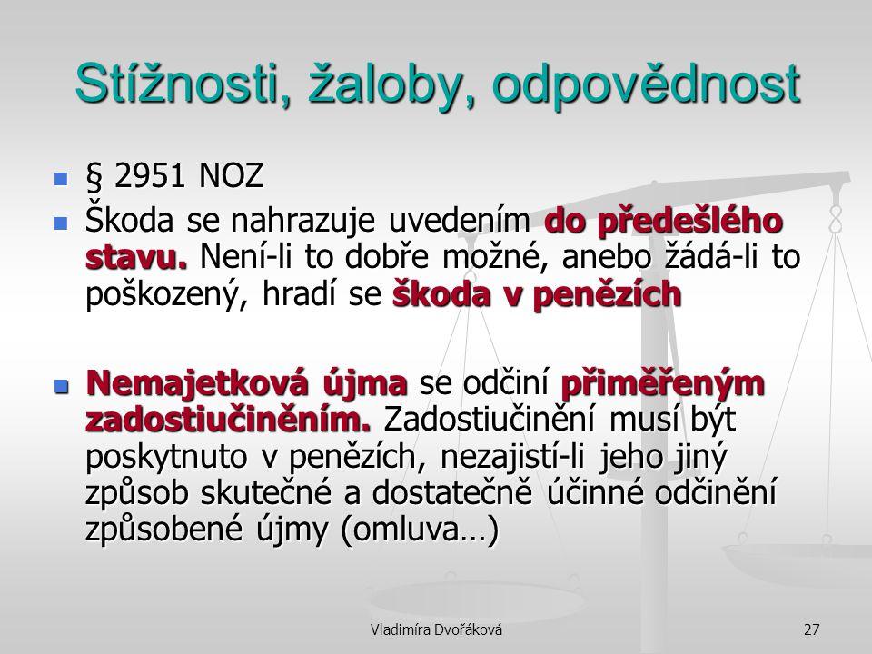 Vladimíra Dvořáková27 Stížnosti, žaloby, odpovědnost § 2951 NOZ § 2951 NOZ Škoda se nahrazuje uvedením do předešlého stavu. Není-li to dobře možné, an