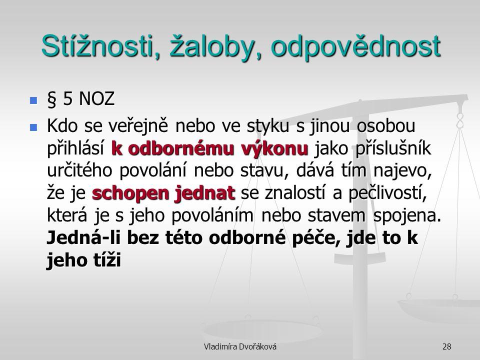 Vladimíra Dvořáková28 Stížnosti, žaloby, odpovědnost § 5 NOZ § 5 NOZ Kdo se veřejně nebo ve styku s jinou osobou přihlásí k odbornému výkonu jako přís