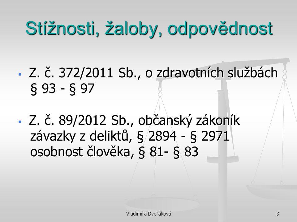 Vladimíra Dvořáková3 Stížnosti, žaloby, odpovědnost  Z. č. 372/2011 Sb., o zdravotních službách § 93 - § 97 § 93 - § 97  Z. č. 89/2012 Sb., občanský