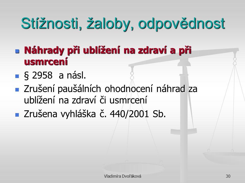 Vladimíra Dvořáková30 Stížnosti, žaloby, odpovědnost Náhrady při ublížení na zdraví a při usmrcení Náhrady při ublížení na zdraví a při usmrcení § 295