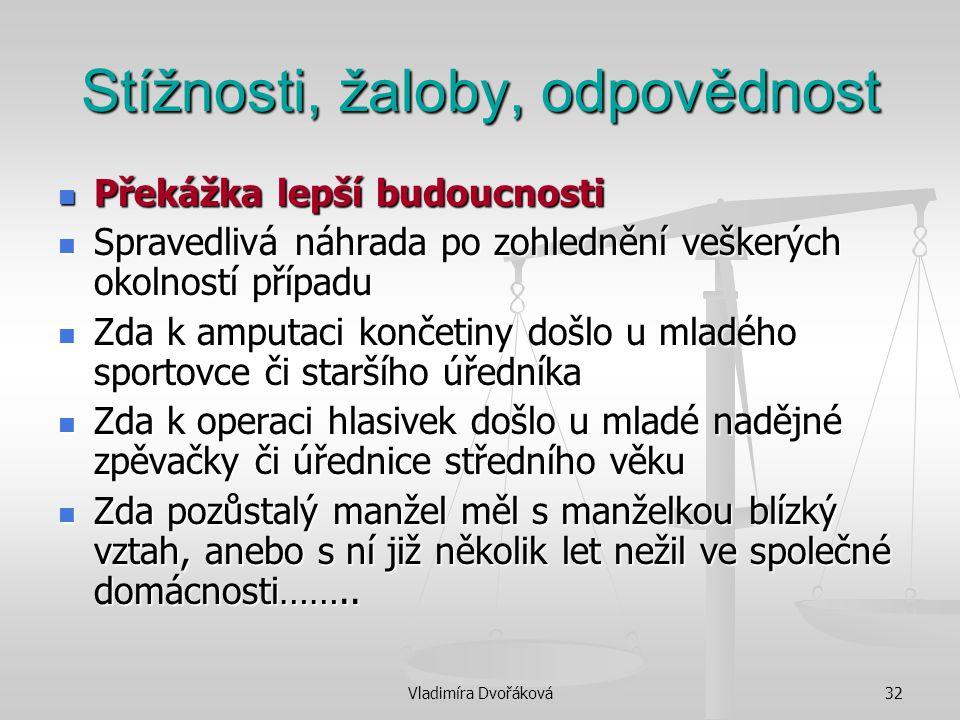 Vladimíra Dvořáková32 Stížnosti, žaloby, odpovědnost Překážka lepší budoucnosti Překážka lepší budoucnosti Spravedlivá náhrada po zohlednění veškerých
