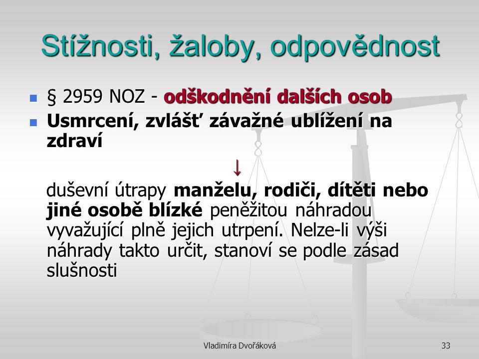 Vladimíra Dvořáková33 Stížnosti, žaloby, odpovědnost § 2959 NOZ - odškodnění dalších osob § 2959 NOZ - odškodnění dalších osob Usmrcení, zvlášť závažn