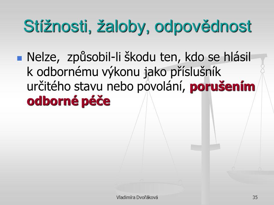 Vladimíra Dvořáková35 Stížnosti, žaloby, odpovědnost Nelze, způsobil-li škodu ten, kdo se hlásil k odbornému výkonu jako příslušník určitého stavu neb