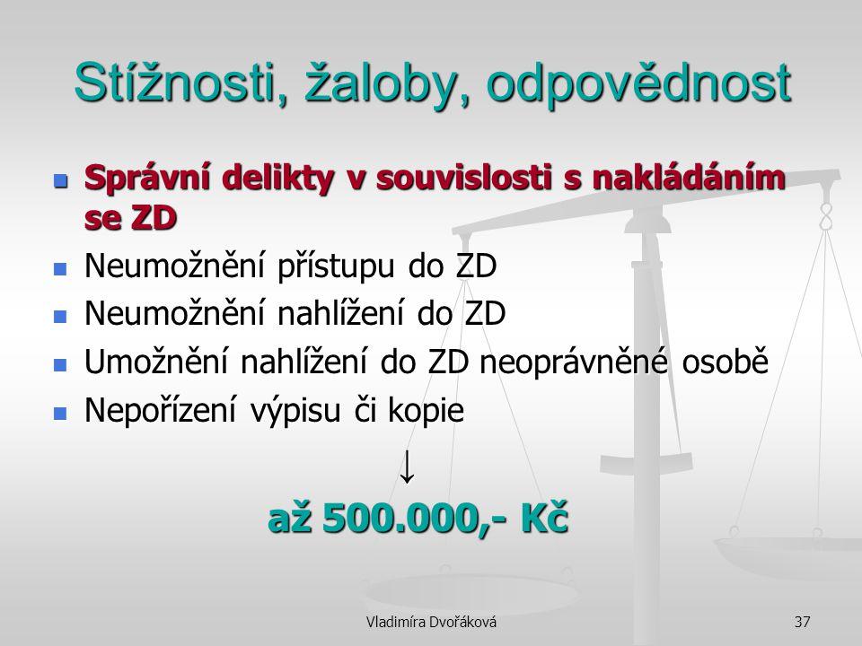 Vladimíra Dvořáková37 Stížnosti, žaloby, odpovědnost Správní delikty v souvislosti s nakládáním se ZD Správní delikty v souvislosti s nakládáním se ZD