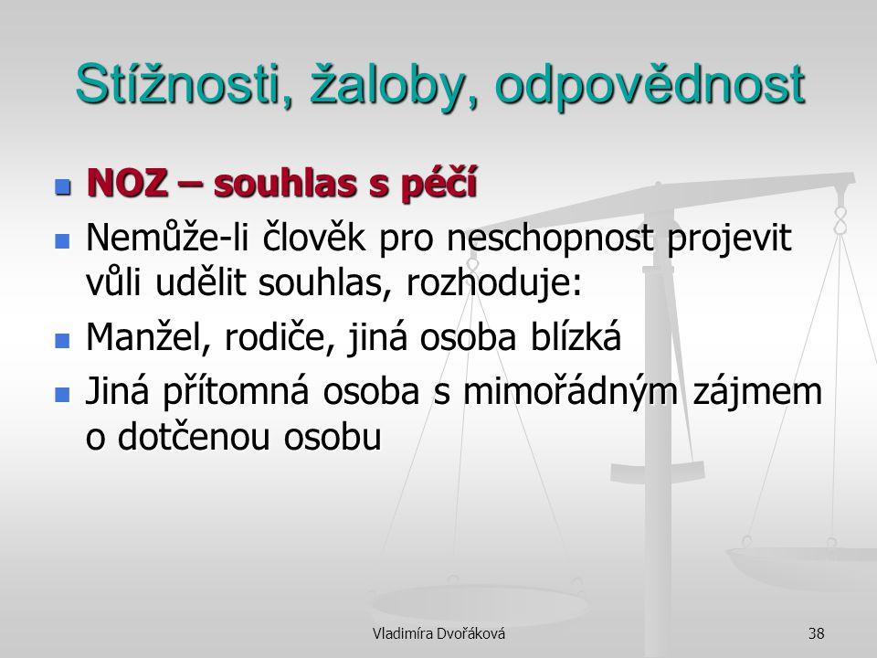 Vladimíra Dvořáková38 Stížnosti, žaloby, odpovědnost NOZ – souhlas s péčí NOZ – souhlas s péčí Nemůže-li člověk pro neschopnost projevit vůli udělit s