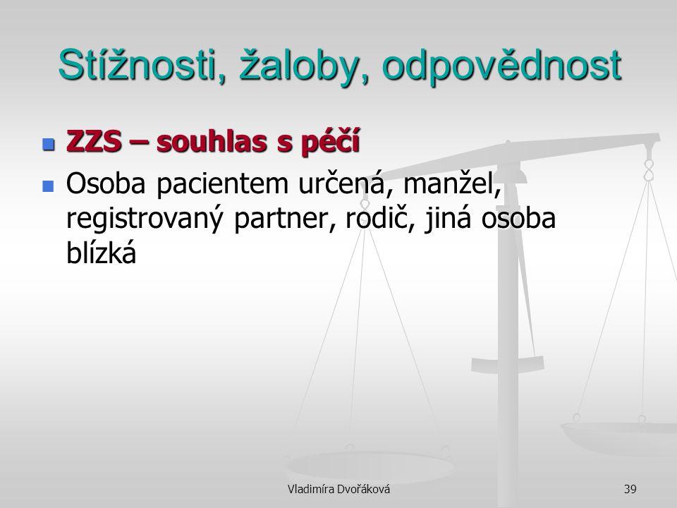 Vladimíra Dvořáková39 Stížnosti, žaloby, odpovědnost ZZS – souhlas s péčí ZZS – souhlas s péčí Osoba pacientem určená, manžel, registrovaný partner, r