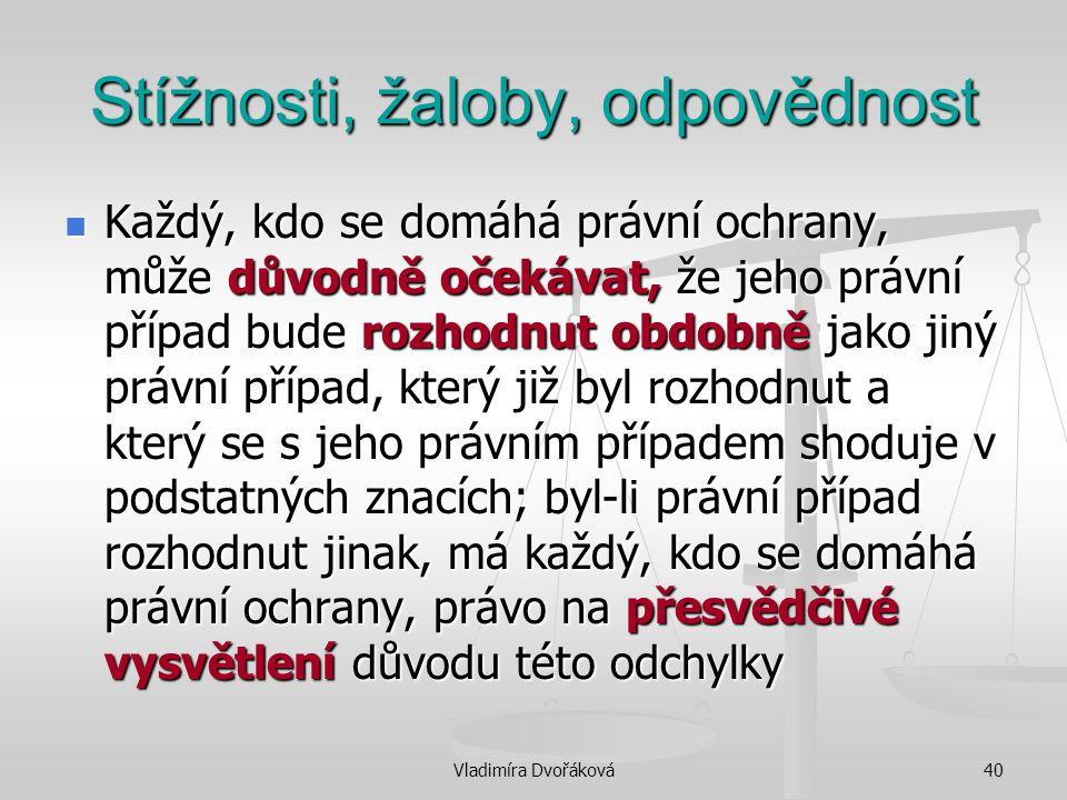 Vladimíra Dvořáková40 Stížnosti, žaloby, odpovědnost Každý, kdo se domáhá právní ochrany, může důvodně očekávat, že jeho právní případ bude rozhodnut