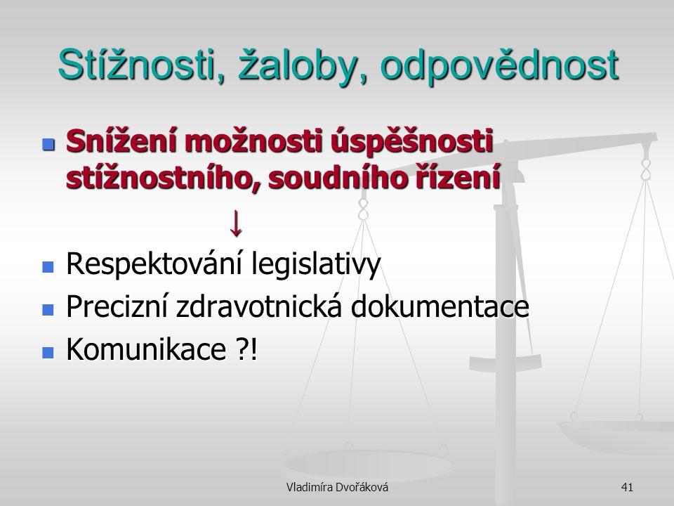 Vladimíra Dvořáková41 Stížnosti, žaloby, odpovědnost Snížení možnosti úspěšnosti stížnostního, soudního řízení Snížení možnosti úspěšnosti stížnostníh