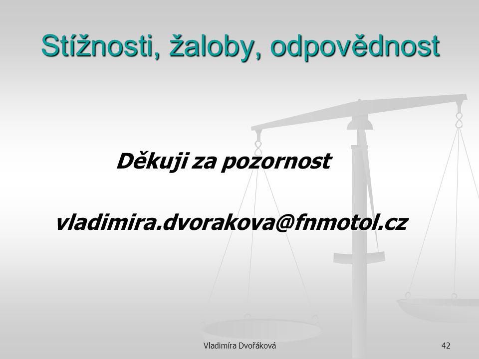 Vladimíra Dvořáková42 Stížnosti, žaloby, odpovědnost Děkuji za pozornost Děkuji za pozornost vladimira.dvorakova@fnmotol.cz vladimira.dvorakova@fnmoto