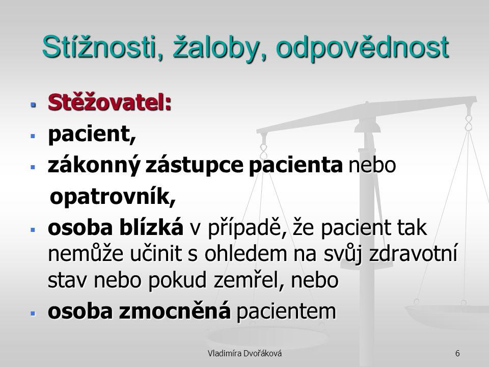 Vladimíra Dvořáková7 Stížnosti, žaloby, odpovědnost  Proti:  postupu poskytovatele při poskytování zdravotních služeb,  činnostem souvisejícím se zdravotními službami