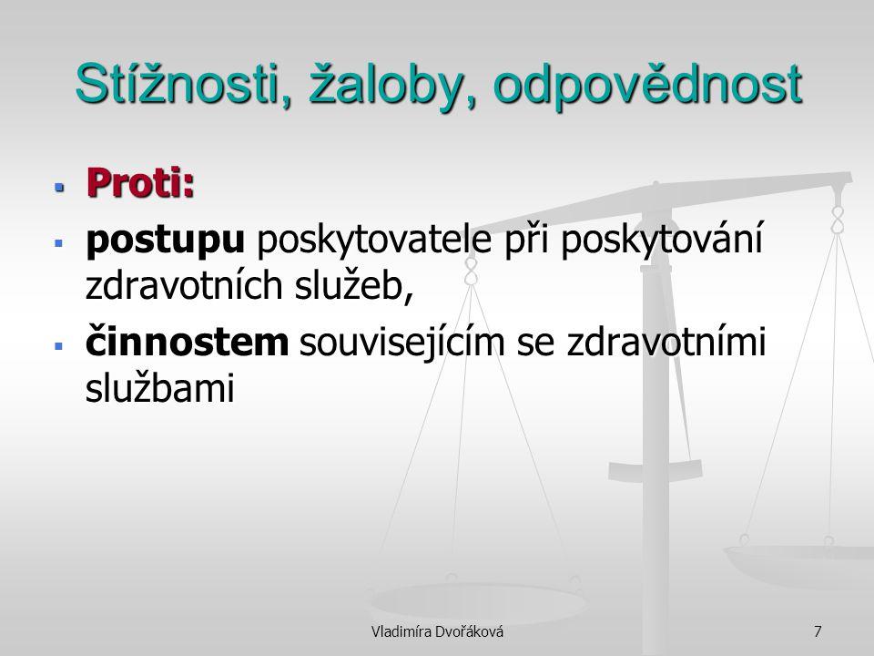 Vladimíra Dvořáková7 Stížnosti, žaloby, odpovědnost  Proti:  postupu poskytovatele při poskytování zdravotních služeb,  činnostem souvisejícím se z