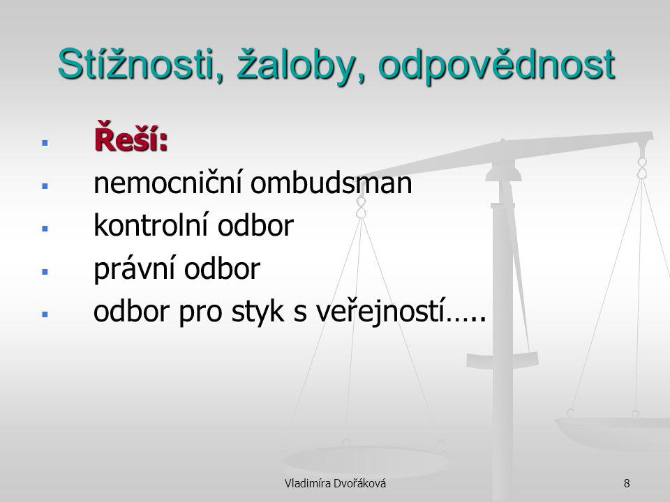 Vladimíra Dvořáková8 Stížnosti, žaloby, odpovědnost  Řeší:  nemocniční ombudsman  kontrolní odbor  právní odbor  odbor pro styk s veřejností…..