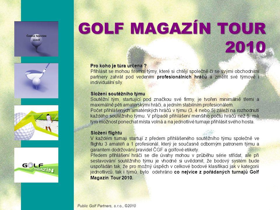 GOLF MAGAZÍN TOUR 2010 Kdy a kde se bude hrát Série se skládá ze čtyř turnajů hraných na mistrovských 18-jamkových hřištích (Ropice, Mladá Boleslav, Mnich a Haugschlag), které budou hrány ve všední dny.