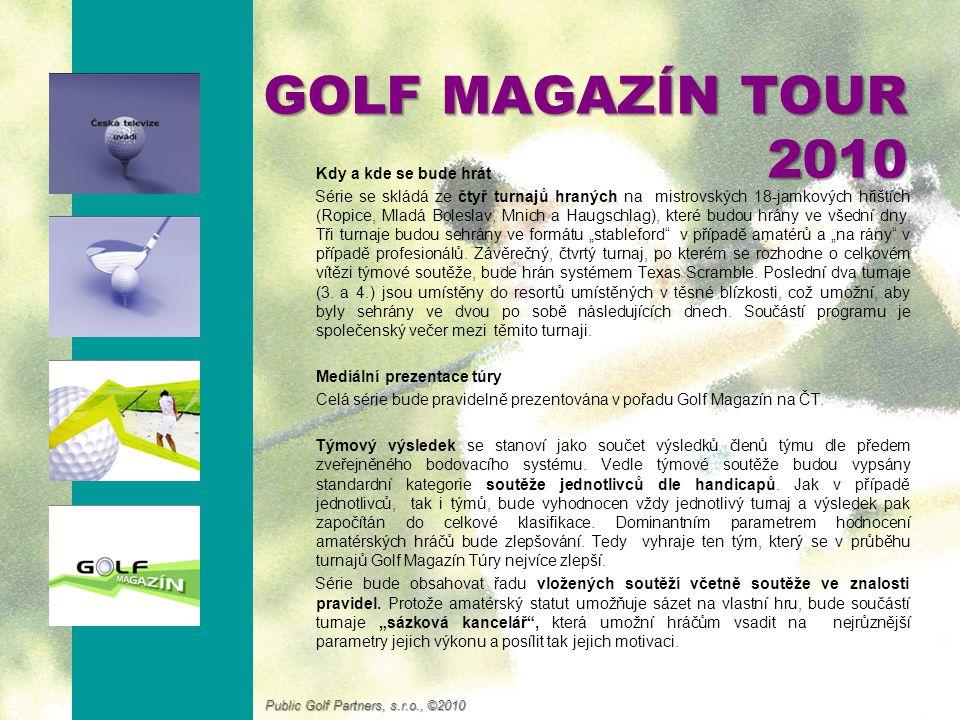 GOLF MAGAZÍN TOUR 2010 Organizace soutěže Přihlásit se mohou pouze hráči s aktivním handicapem.