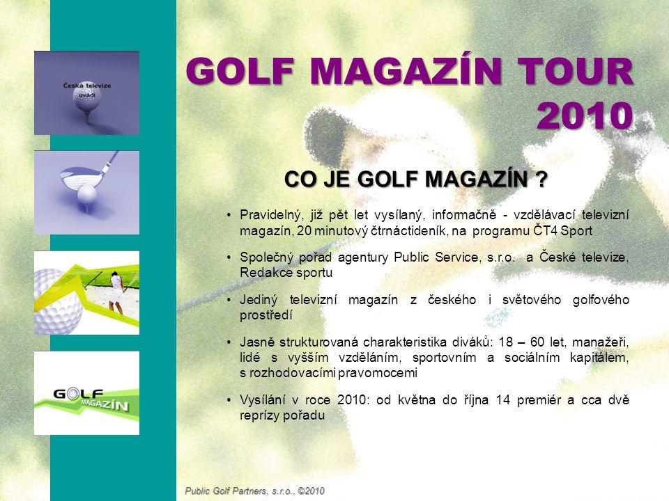 Stabilní společnost zabývající se také následujícími činnostmi: Příprava a produkce pořadu Golf magazín pro Českou televizi (2005-dosud) Produkce přímých TV přenosů ČT z golfových turnajů REPROMEDA (2008, 2009) Konzultantská činnost pro golfové kluby (BGC, ZGCK) Mediální poradenství a prezentační činnost pro PGAC (2005 – 2008) Příprava a organizace firemních golfových turnajů a turnajových sérií (Dalkia ČR, Ness…) GOLF MAGAZÍN TOUR 2010 KDO JE .