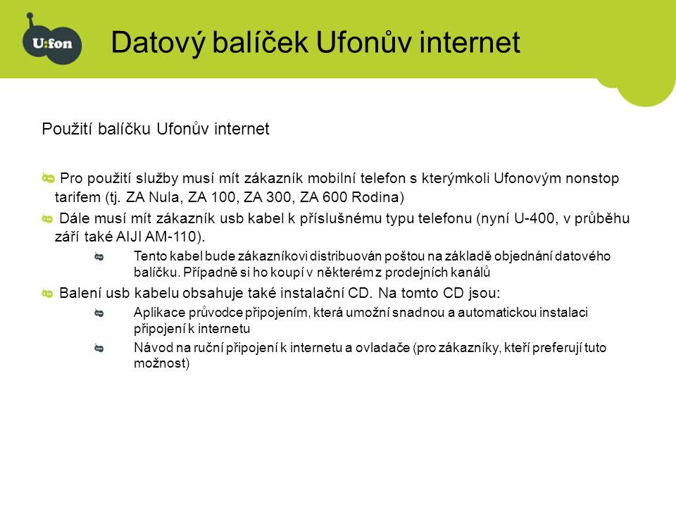 Datový balíček Ufonův internet Použití balíčku Ufonův internet Pro použití služby musí mít zákazník mobilní telefon s kterýmkoli Ufonovým nonstop tari