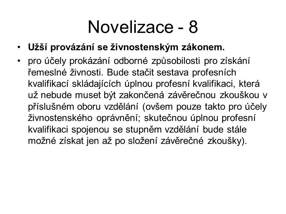 Novelizace - 8 Užší provázání se živnostenským zákonem.