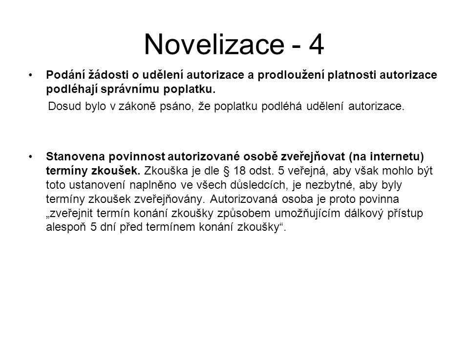 Novelizace - 4 Podání žádosti o udělení autorizace a prodloužení platnosti autorizace podléhají správnímu poplatku.