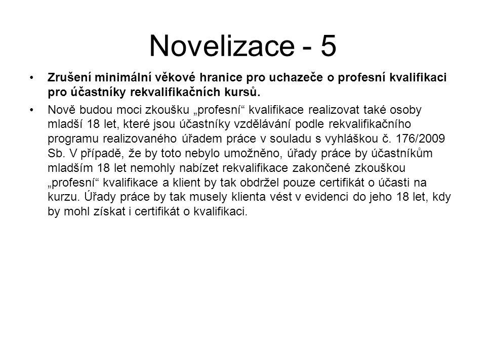 Novelizace - 5 Zrušení minimální věkové hranice pro uchazeče o profesní kvalifikaci pro účastníky rekvalifikačních kursů.