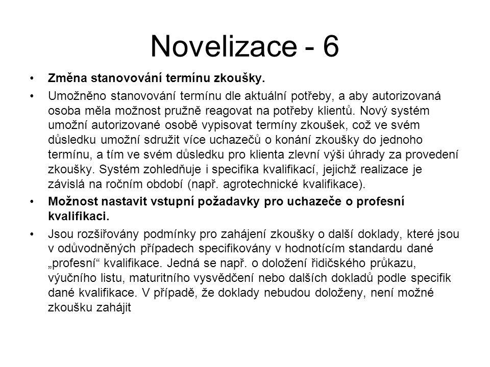 Novelizace - 6 Změna stanovování termínu zkoušky.