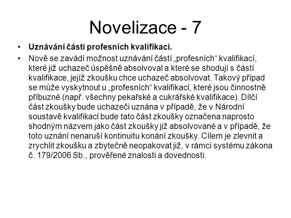 Novelizace - 7 Uznávání částí profesních kvalifikací.