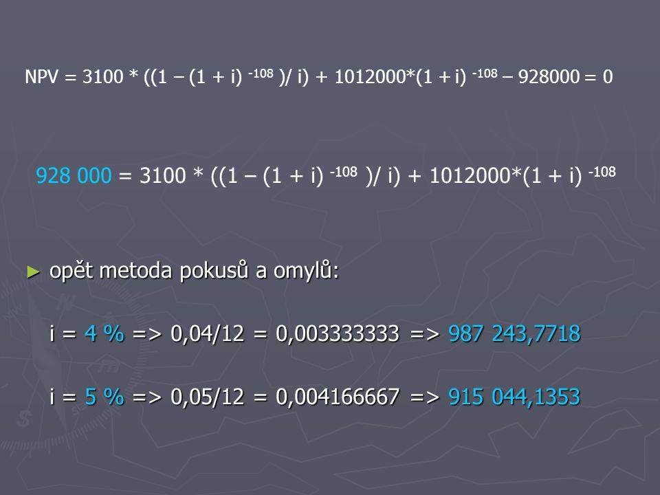 NPV = 3100 * ((1 – (1 + i) -108 )/ i) + 1012000*(1 + i) -108 – 928000 = 0 928 000 = 3100 * ((1 – (1 + i) -108 )/ i) + 1012000*(1 + i) -108 ► opět metoda pokusů a omylů: i = 4 % => 0,04/12 = 0,003333333 => 987 243,7718 i = 5 % => 0,05/12 = 0,004166667 => 915 044,1353
