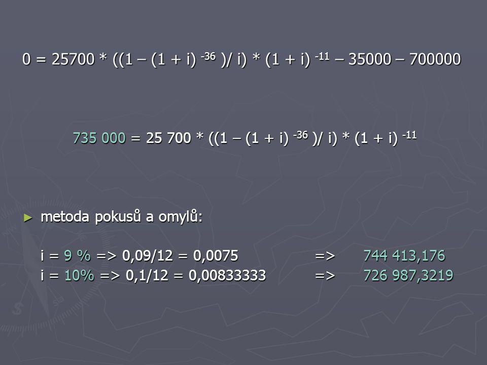 0 = 25700 * ((1 – (1 + i) -36 )/ i) * (1 + i) -11 – 35000 – 700000 735 000 = 25 700 * ((1 – (1 + i) -36 )/ i) * (1 + i) -11 ► metoda pokusů a omylů: i = 9 % => 0,09/12 = 0,0075 =>744 413,176 i = 10% => 0,1/12 = 0,00833333 => 726 987,3219