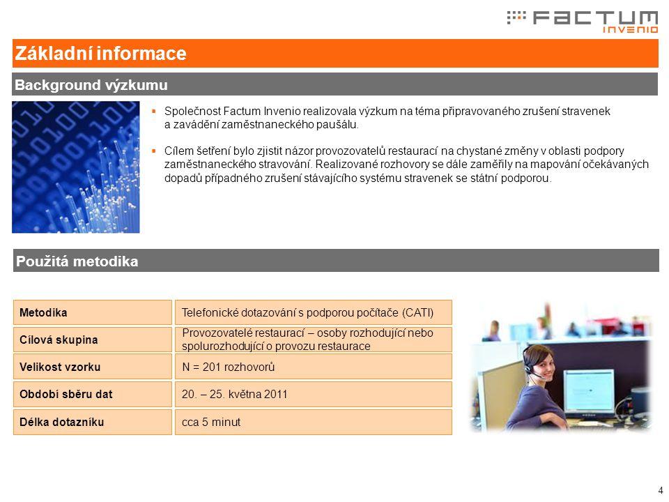 4  Společnost Factum Invenio realizovala výzkum na téma připravovaného zrušení stravenek a zavádění zaměstnaneckého paušálu.  Cílem šetření bylo zji